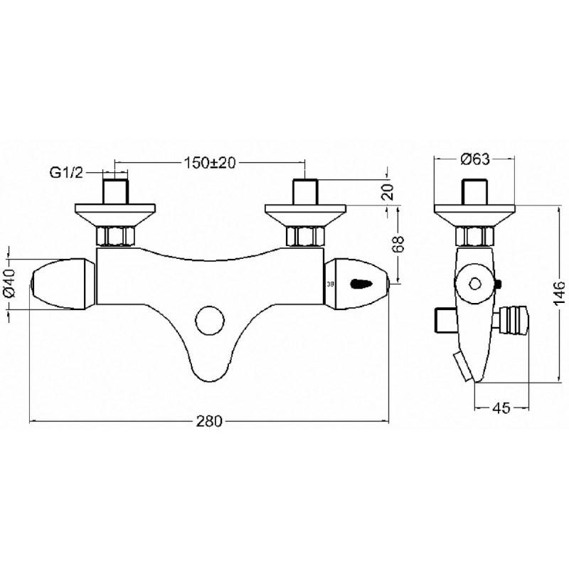 Premier Thermostatic Bath Shower Mixer