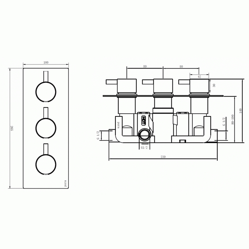 Pura Arco Twin Outlet Three Handle Concealed Shower Valve