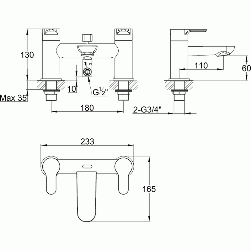 Pura Echo Bath Shower Mixer with Shower Kit