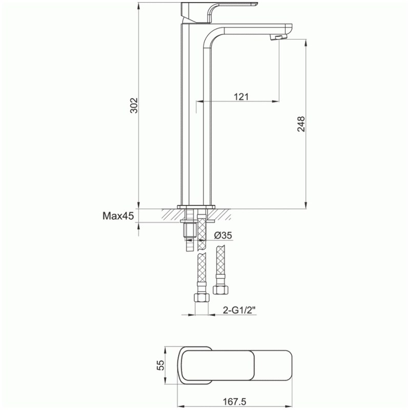 Pura Flite Tall Single Lever Basin Mixer