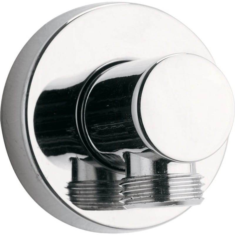 Pura Round Brass Wall Outlet Elbow Chrome