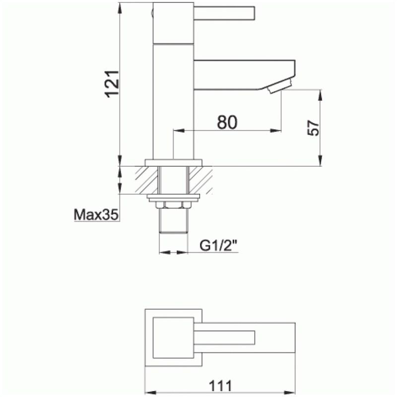 Pura Sq2 Basin Pillar Taps (Pair)