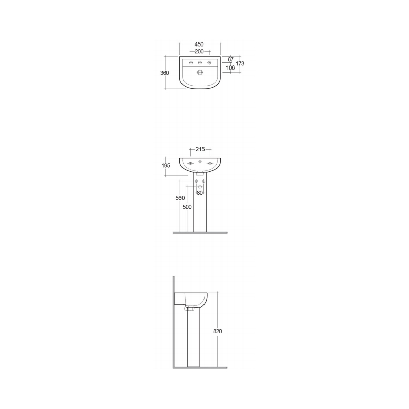 RAK Compact 45cm Basin 2 Tap Holes