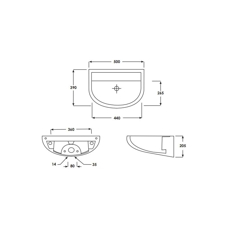 RAK Compact 50cm Special Needs Horizontal Outlet Basin