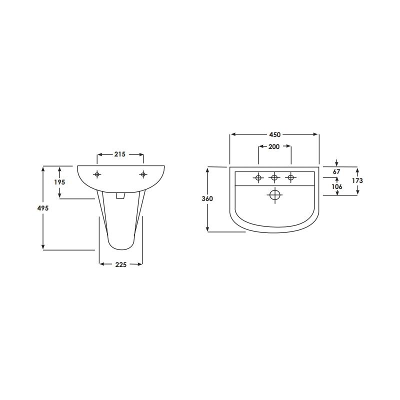 RAK Compact Small Pedestal for 46cm Basin