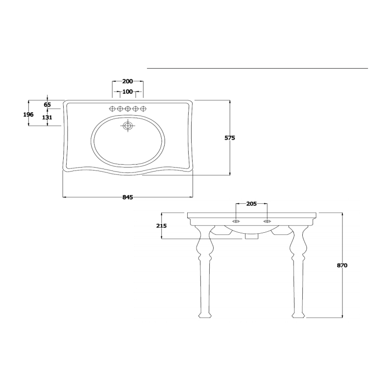 RAK Console Alexandra 85cm Basin 3 Tap Holes