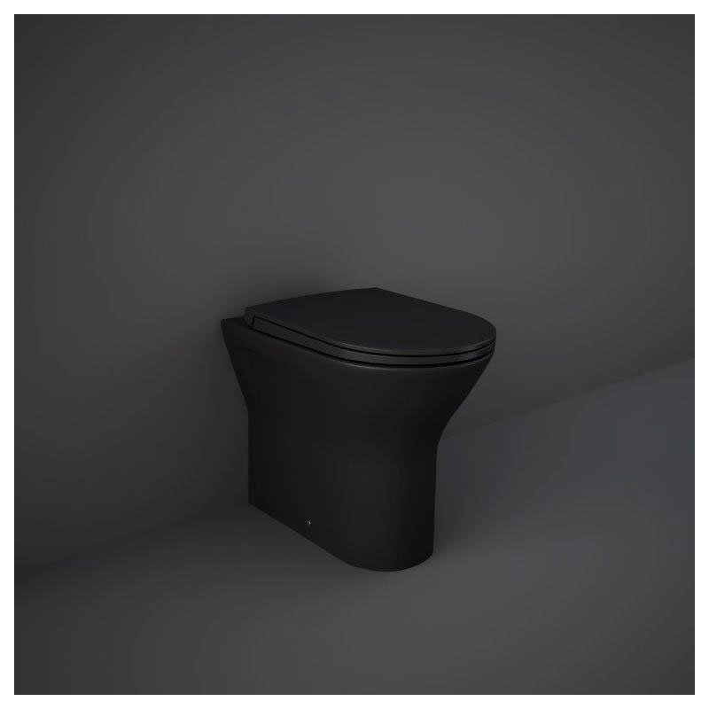 RAK Feeling Rimless Back To Wall Pan & Soft Close Seat Matt Black