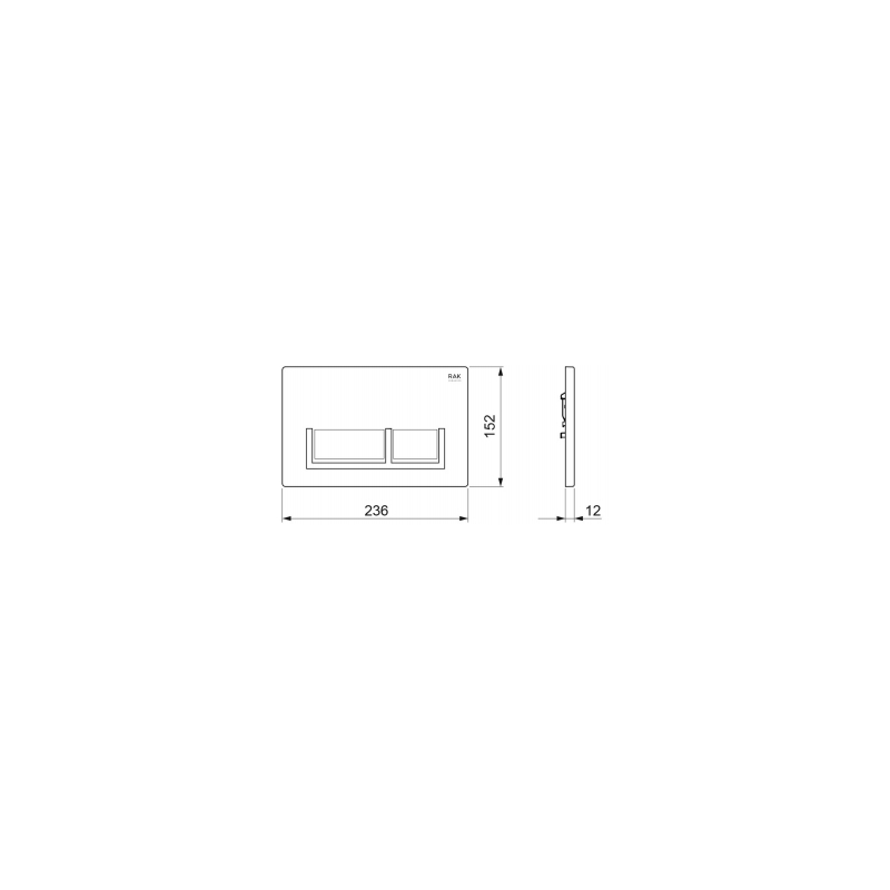 RAK White Flush Plate with Polished Chrome Rectangular Push Buttons