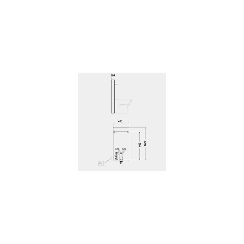 RAK Obelisk Cabinet Cistern for Back To Wall Bidet White