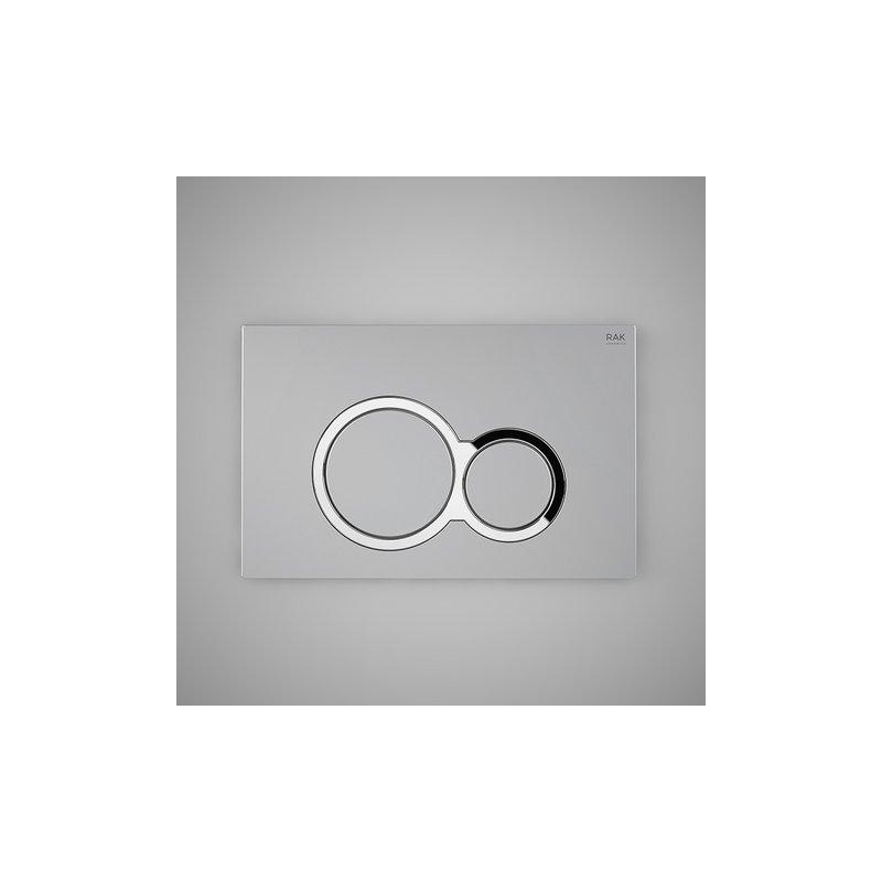 RAK Matt Chrome Flush Plate with Polished Chrome Round Buttons