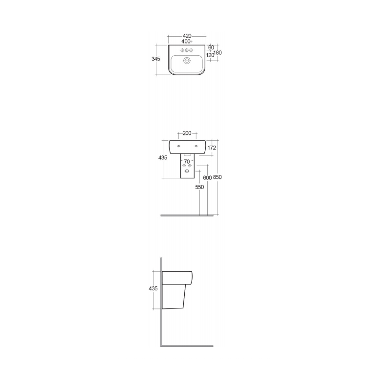 RAK Metropolitan Half Pedestal for 42cm Basin