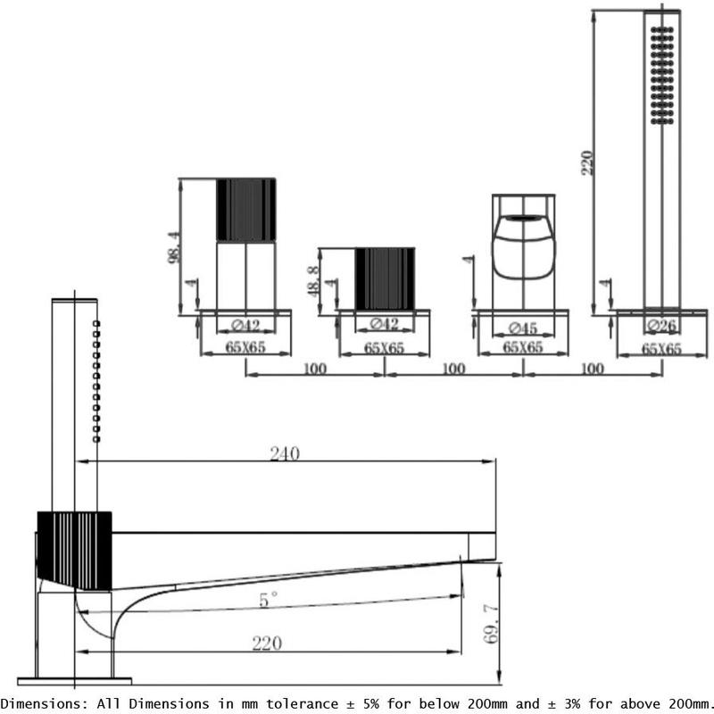 RAK Amalfi 4 Hole Deck Mounted Bath Shower Mixer Chrome