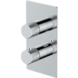 RAK Amalfi Dual Outlet, 2 Handle Thermostatic Shower Valve Chrome