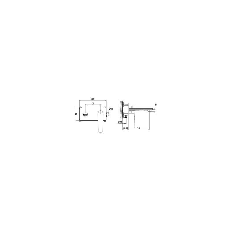 RAK Blade Wall Mounted Basin Mixer with Back Plate