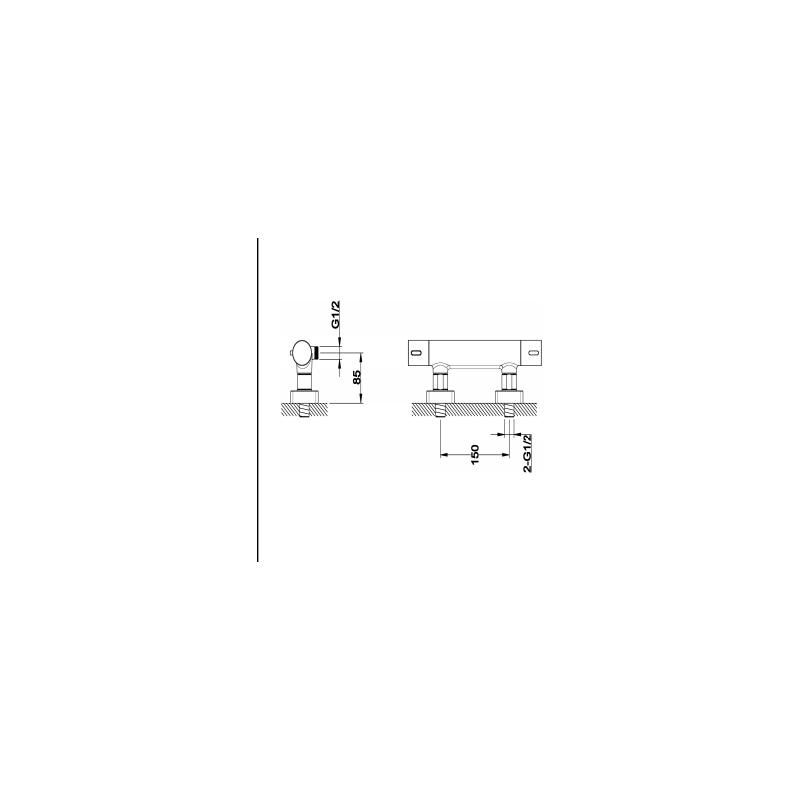 RAK Blade Wall Mounted Exposed Thermostatic Bar Valve