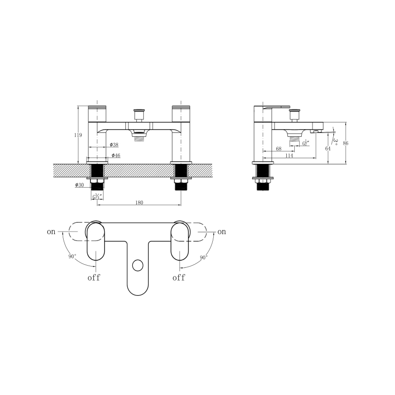 RAK Compact Round Bath Shower Mixer