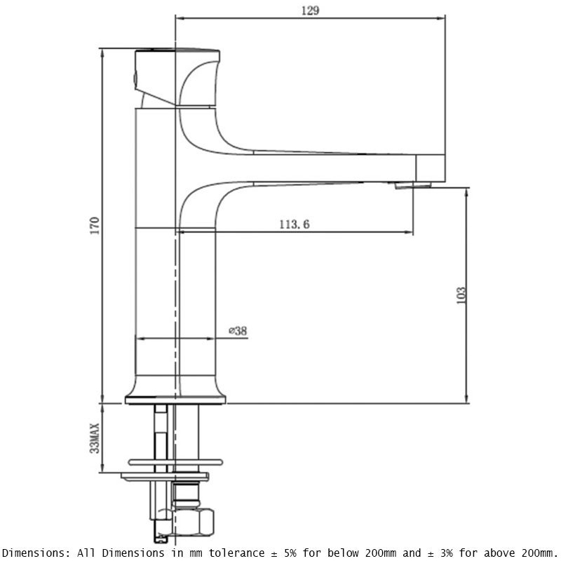 RAK Positano Standard Basin Mixer Brushed Nickel