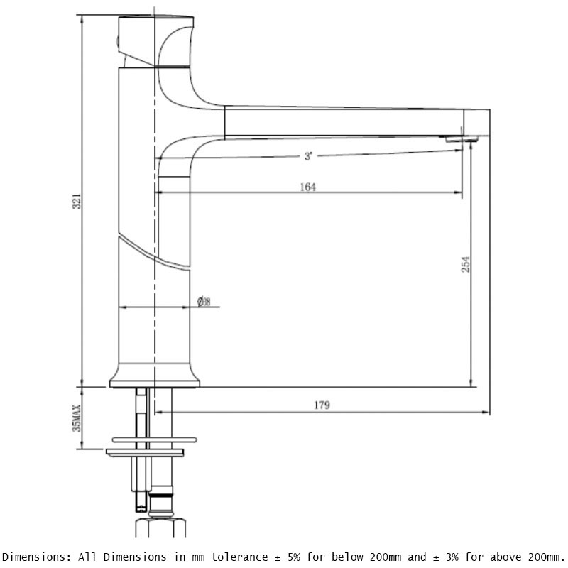 RAK Positano Tall Basin Mixer Chrome