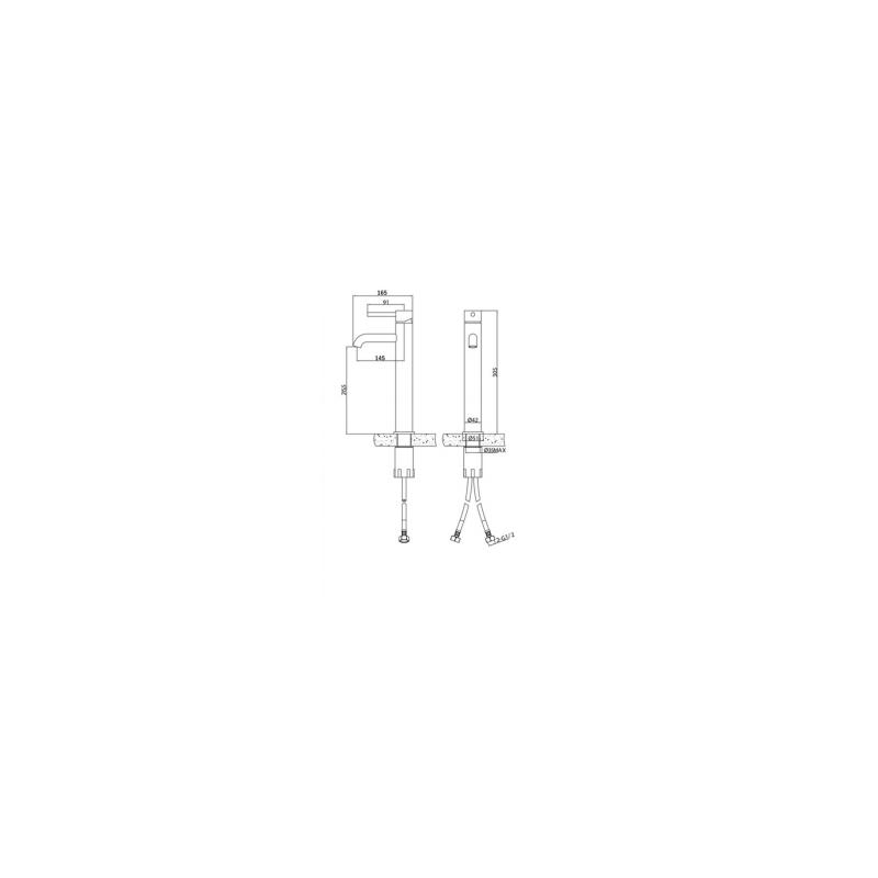 RAK Prima Tech Tall Mono Basin Mixer (No Waste)