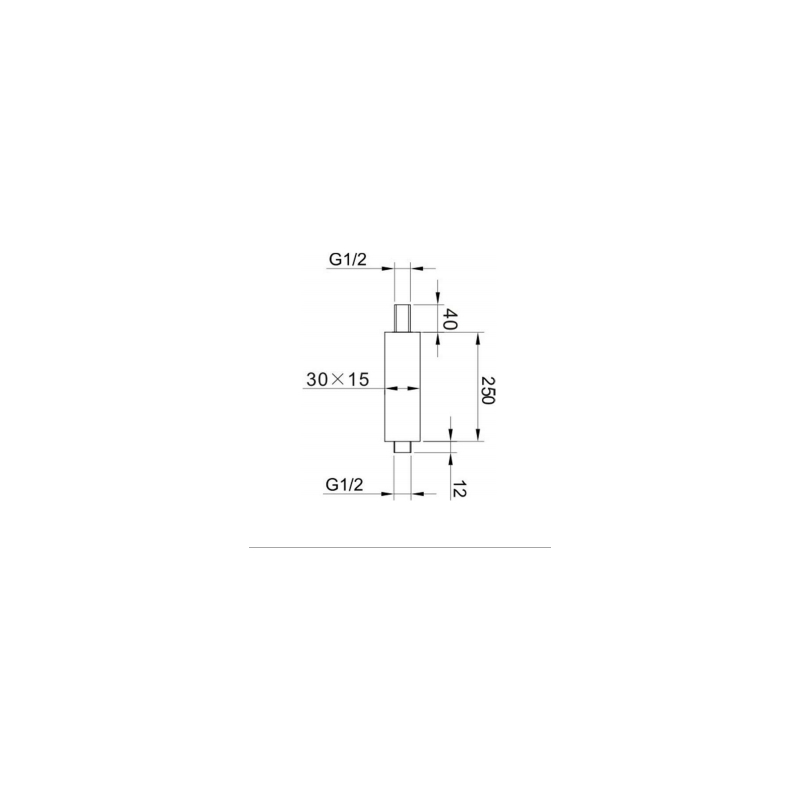 RAK 250mm Rectangular Brass Ceiling Shower Arm Black
