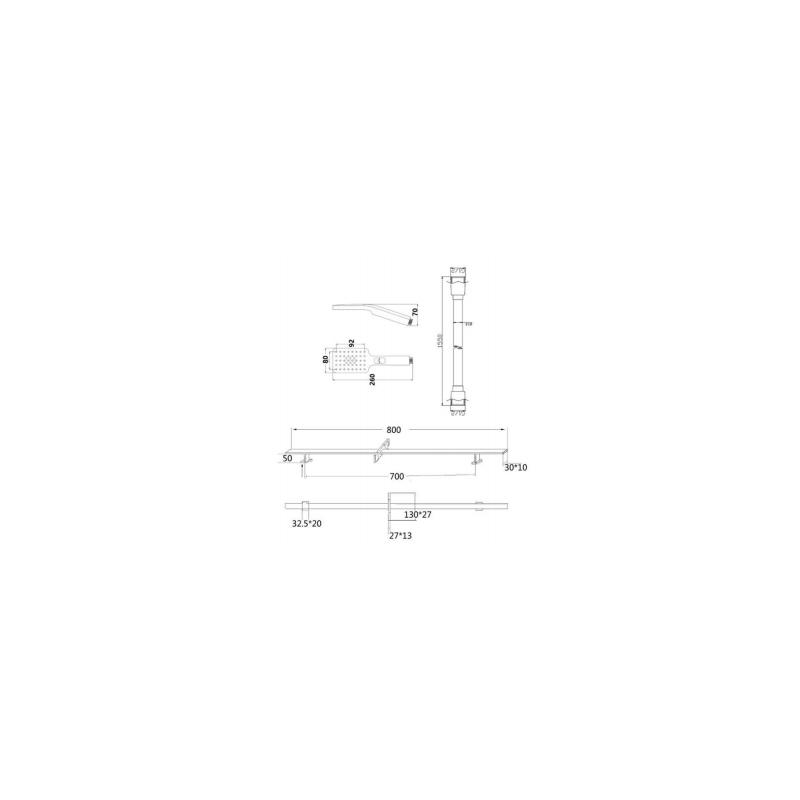 RAK Square Slide Rail Kit with 3 Function Head