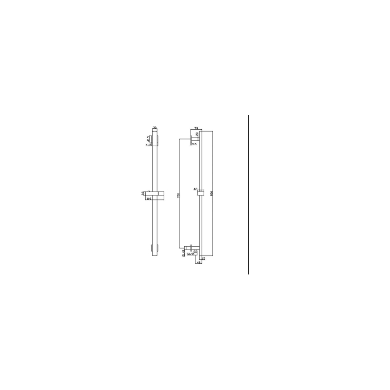 RAK Square Slide Rail Kit with Integral Wall Outlet Black