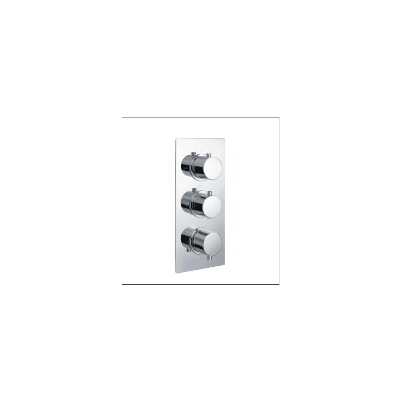 RAK Round Dual Outlet, 3 Handle Thermostatic Shower Valve Chrome