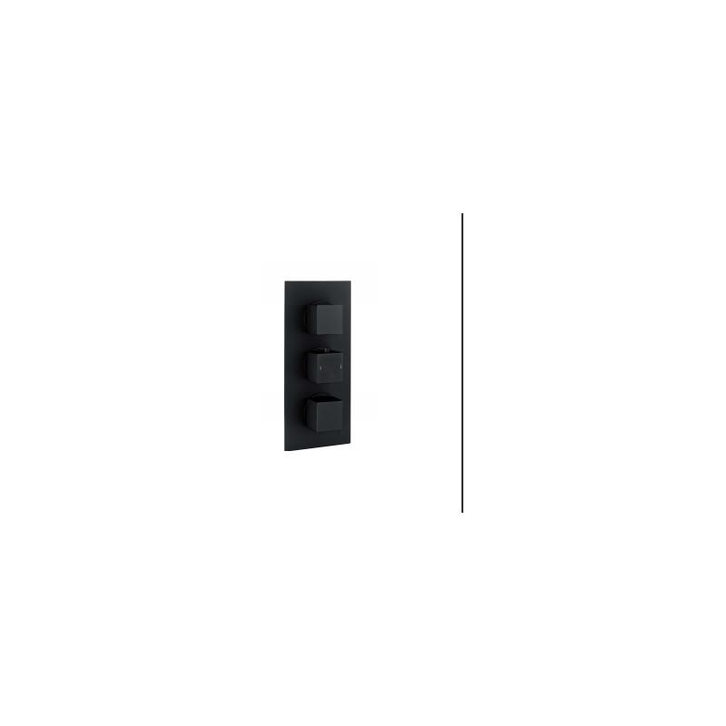 RAK Square Dual Outlet, 3 Handle Thermostatic Shower Valve Black