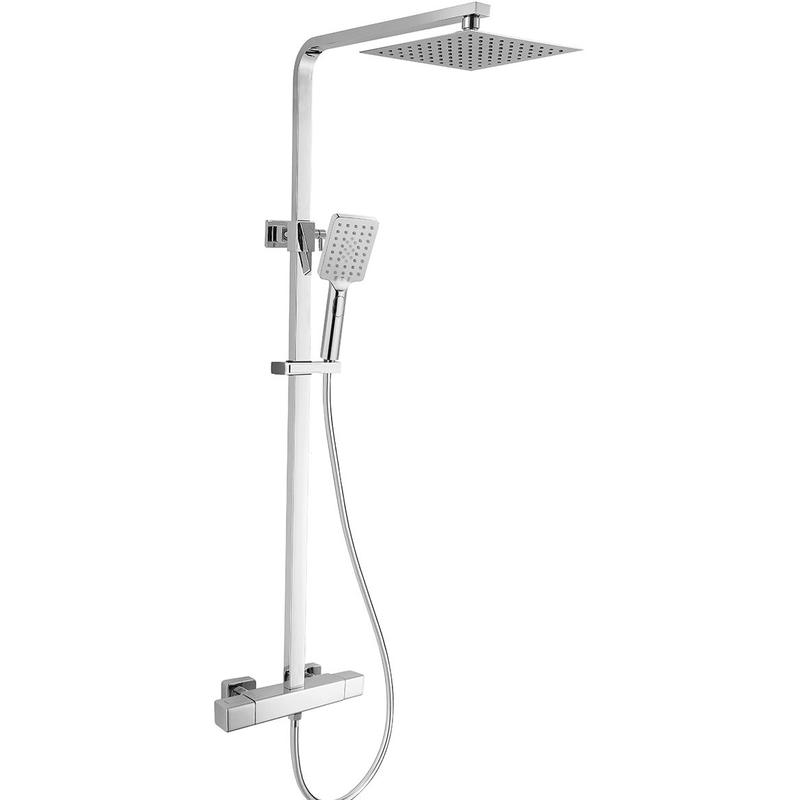 RAK Compact Square Exposed Thermostatic Shower Column Chrome