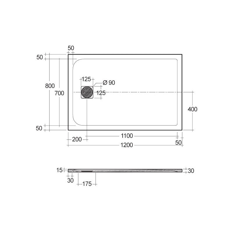 RAK Feeling Shower Tray Solid Grey 80x120cm