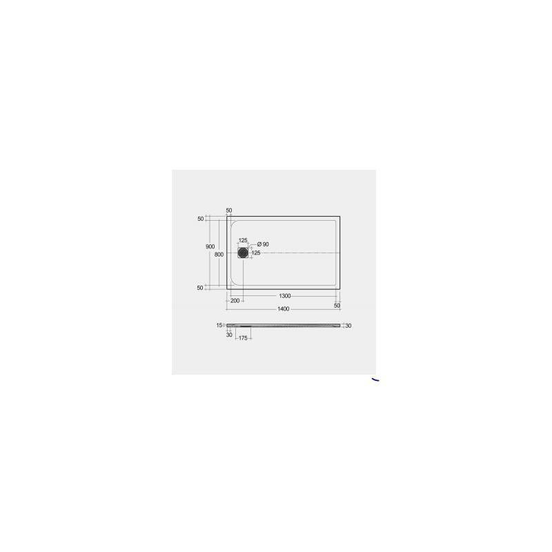 RAK Feeling Shower Tray Solid Black 90x140cm
