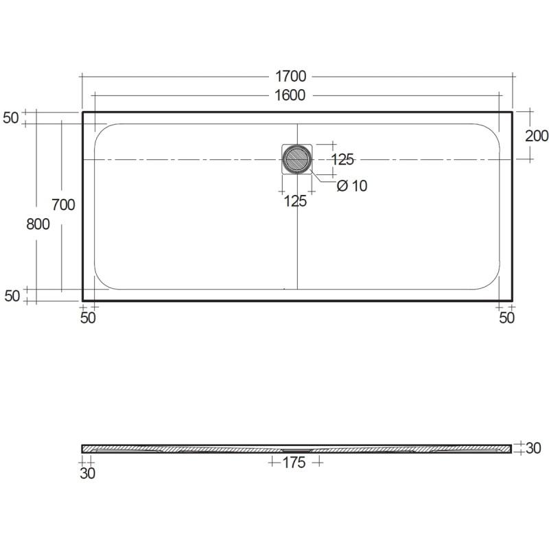RAK Feeling 1700x800mm Shower Tray Greige