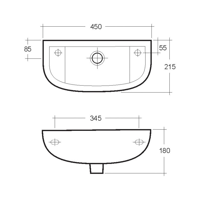 RAK Compact Slim 450mm Cloak Basin 1 Tap Hole LH