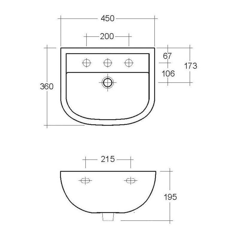 RAK Compact 450mm Basin 1 Tap Hole
