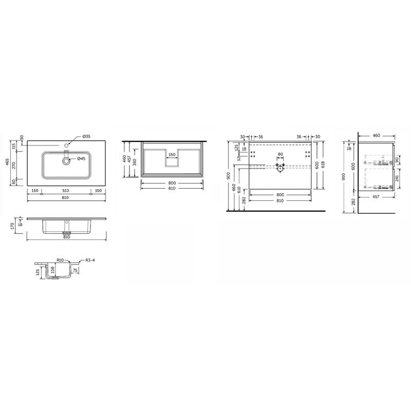 RAK Joy Oak 810mm Wall Hung Vanity Unit & Basin
