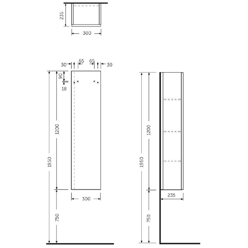 RAK Joy Grey Elm Tall Unit