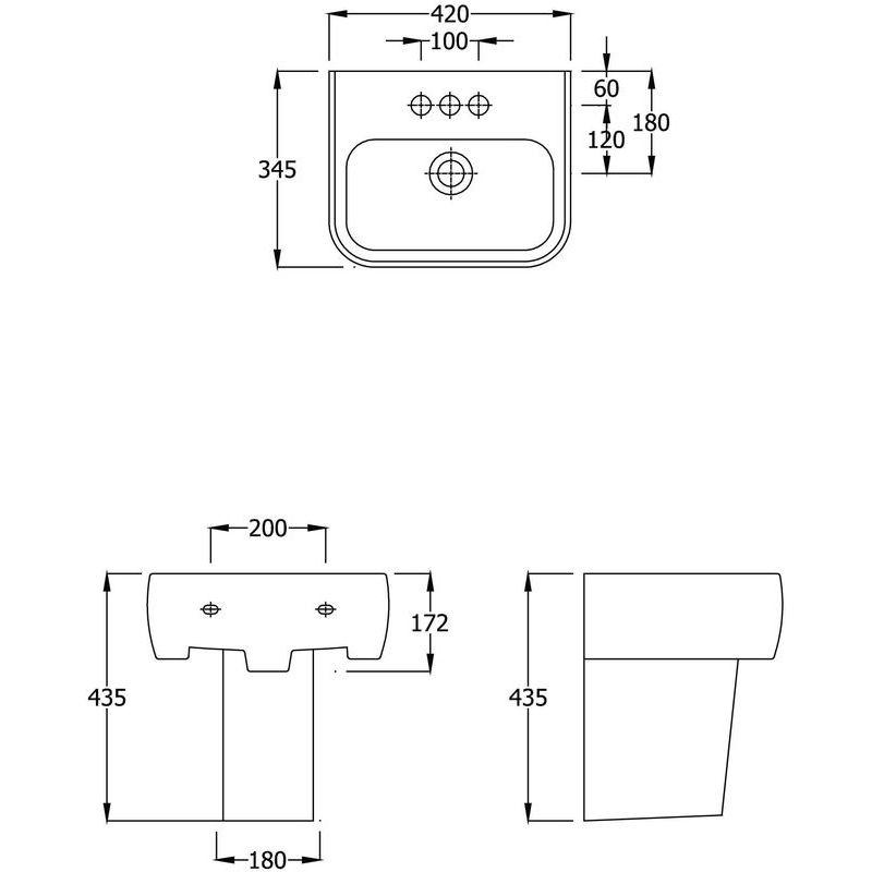 RAK Metro 420mm 1 Tap Hole Basin & Semi Pedestal