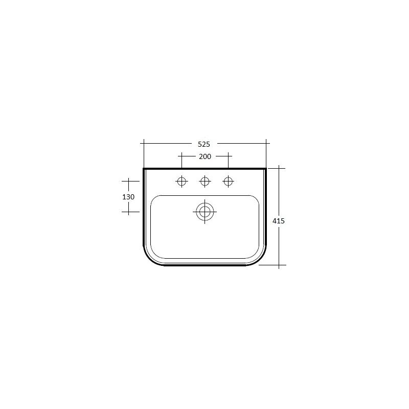 RAK Metro 520mm Basin 1 Tap Hole
