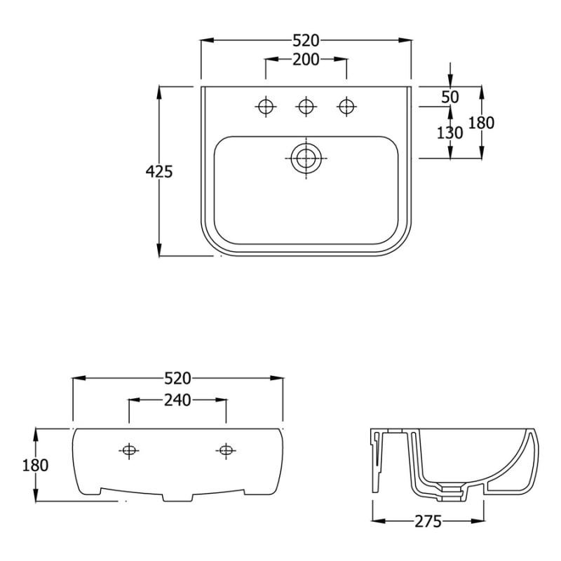 RAK Metro 520mm Semi-Recess Basin 2 Tap Hole