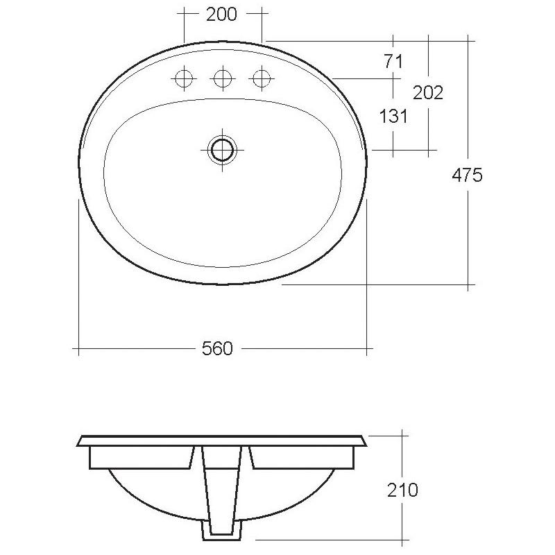 RAK Maria 560mm Over Counter Basin 2 Tap Hole