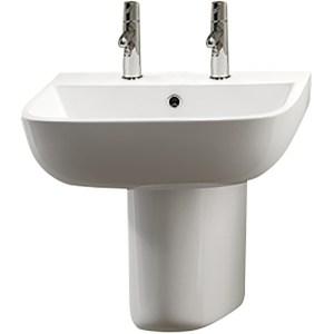 RAK Series 600 2 Tap Hole Basin & Semi Pedestal