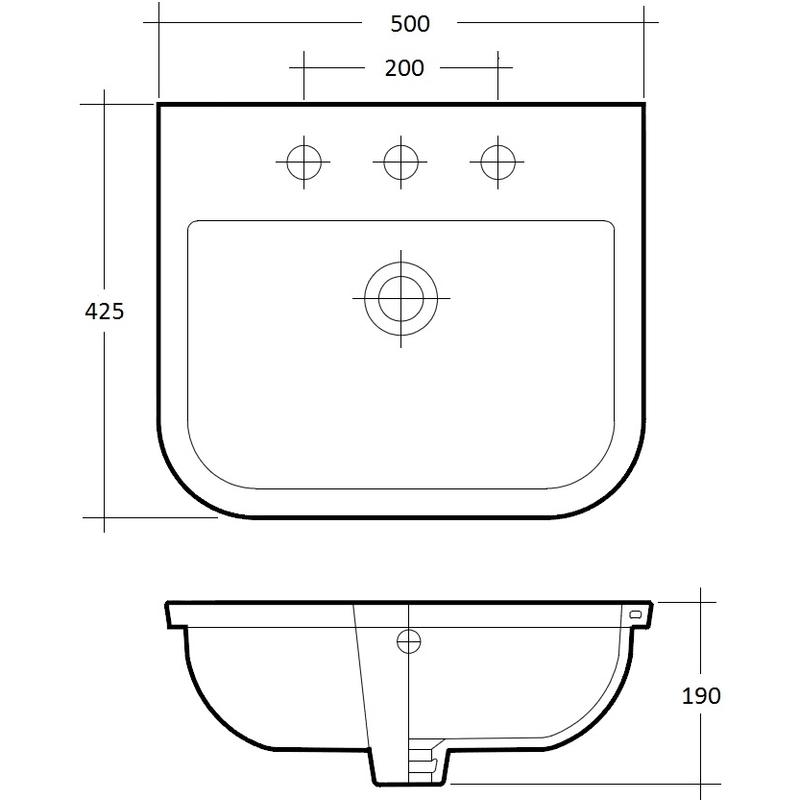 RAK Series 600 500mm Inset Basin 1 Tap Hole