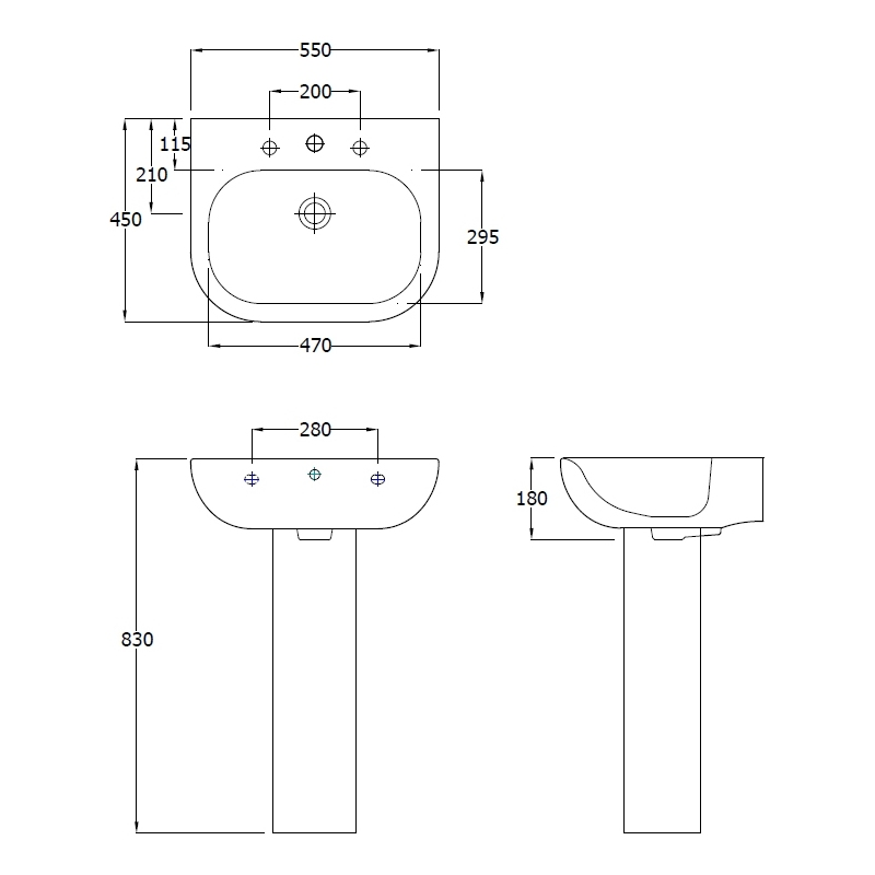 RAK Tonique 550mm Basin (1 Tap Hole)