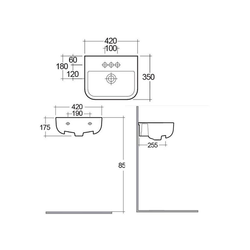 RAK Series 600 42cm Semi Recessed Basin 1 Tap Hole