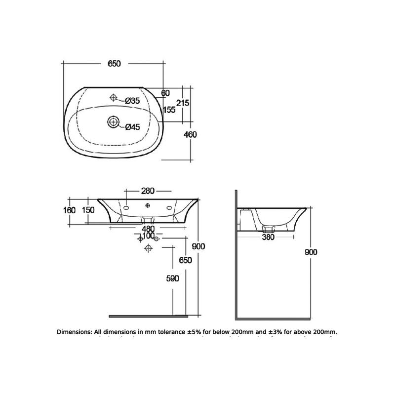 RAK Sensation 65cm Basin 1 Tap Hole