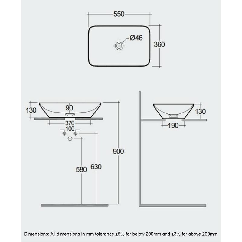 RAK Variant Rectangular Counter Top Basin 55cm Alpine White