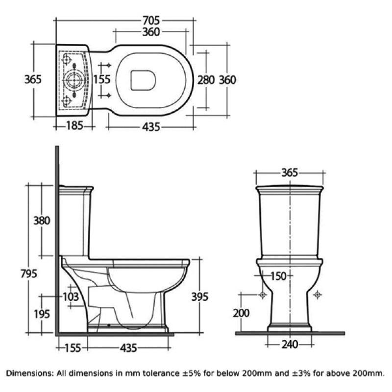 RAK Washington WC with Push Button Cistern & Matt Cuppuccino Seat