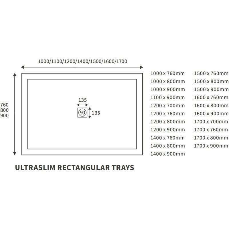 RefleXion 25mm Ultra-Slim 1500mm x 900mm Rectangular Tray & Waste