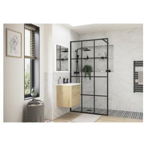 Reflexion Iconix Black Framed Wetroom Panel 1200mm