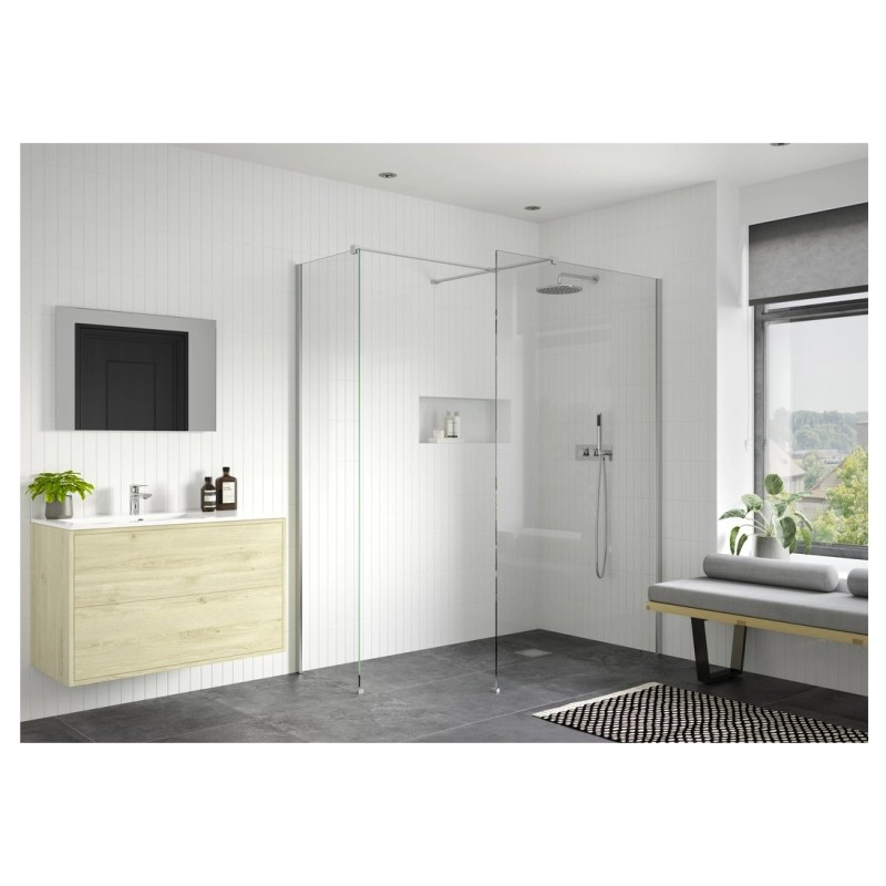 Reflexion Iconix Wetroom Panel & Support Bar 700mm